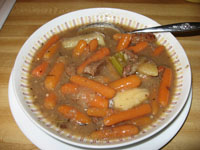 My favorite beef stew recipe - I took this photo when there was only one bowl left, which had mostly carrots and very little meat in it :)