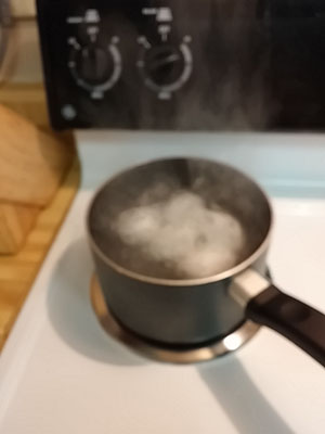 Bring water to rolling boil