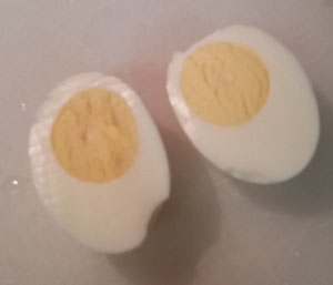 Peeled hard-boiled eggs, ready to eat