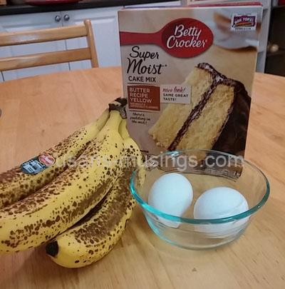cake mix, eggs, ripe bananas