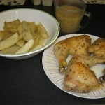 Roasted Chicken Leg Quarters with Potatoes and Garlic