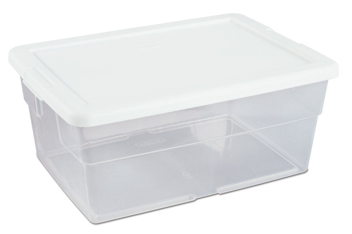 16-Quart See-Through Storage Box with White Secure Fit Lid, 12-Pack