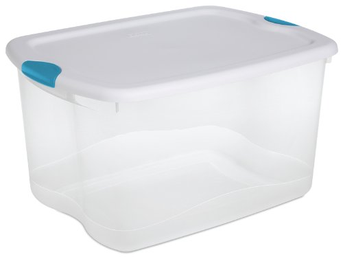 Sterilite 66-Quart See-Through Storage Box with Latching Lid and Handle, Set of 4
